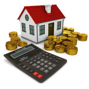 House with red roof, calculator, stack of gold coins dollar. 3d rendering
